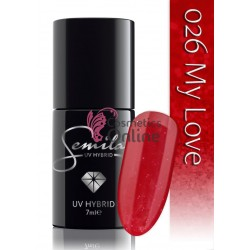 Oja UV Semilac 026 rosu cu sclipici My Love 7 ml